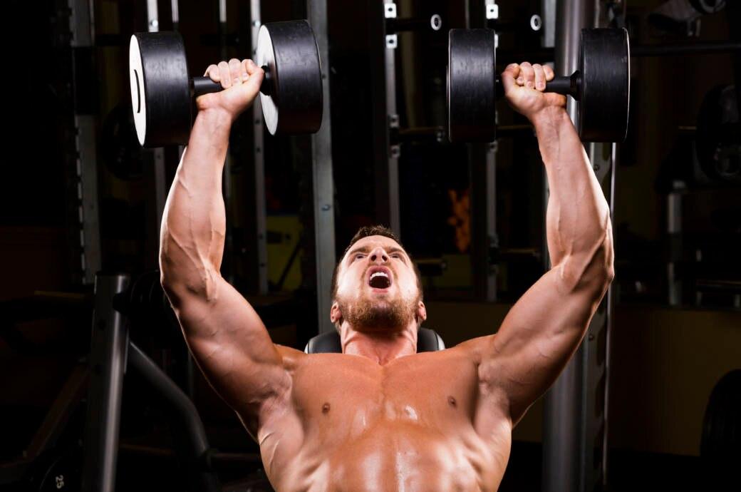 Ein muskulöser Mann trainiert mit zwei Kurzhanteln