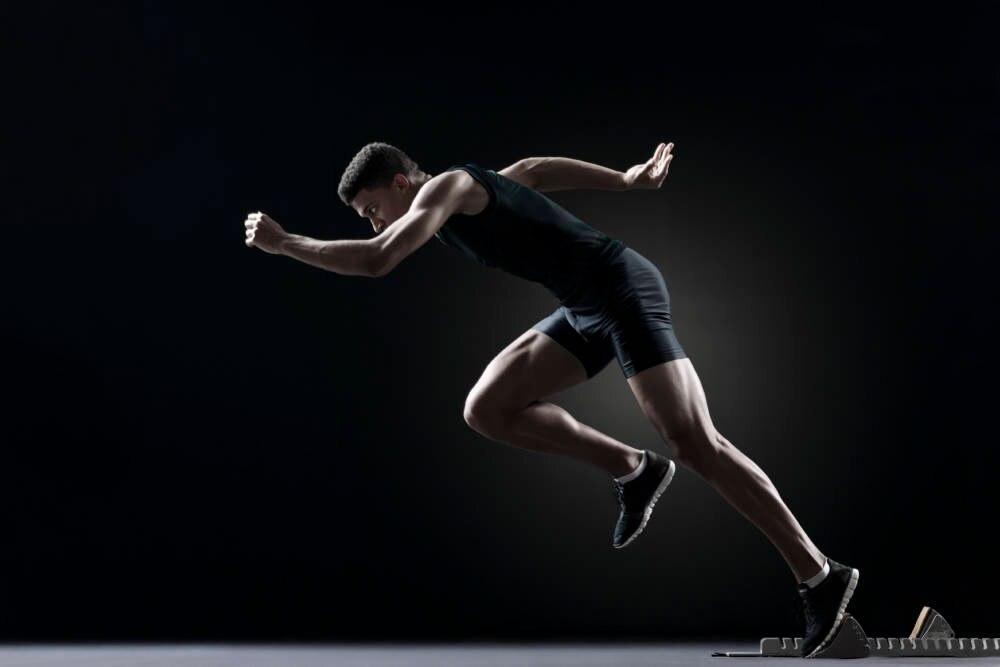 Ein Sprinter in der Startphase