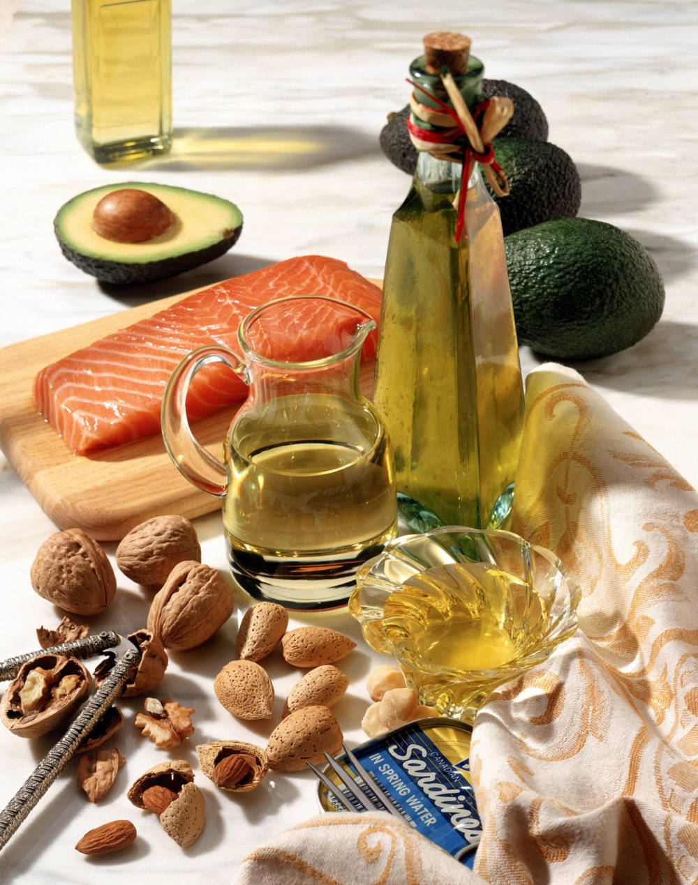 Good fats and oils: fish, olive oil, nuts, avocado