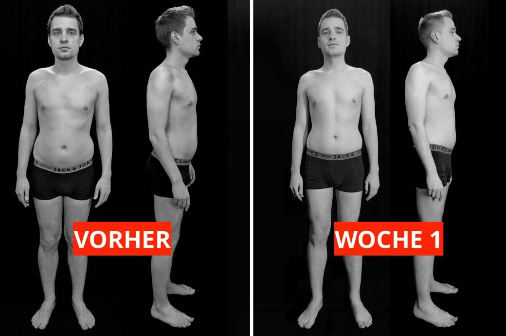 Transformations-Experiment: Fotos von Protagonist Chris (31) vor dem Start des Programms (links) und nach einer Woche (rechts)