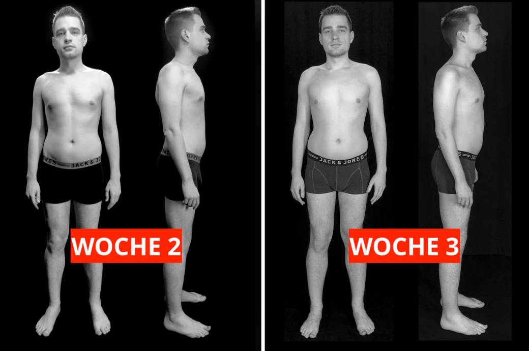 Transformations-Experiment: Fotos von Protagonist Chris (31) nach Woche 2 (links) und Woche 3