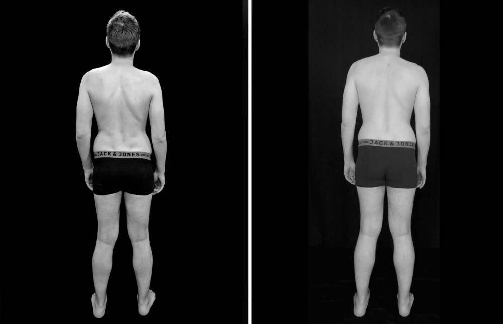 Transformations-Experiment: Fotos von Protagonist Chris (31): VORHER (links) und nach Woche 5