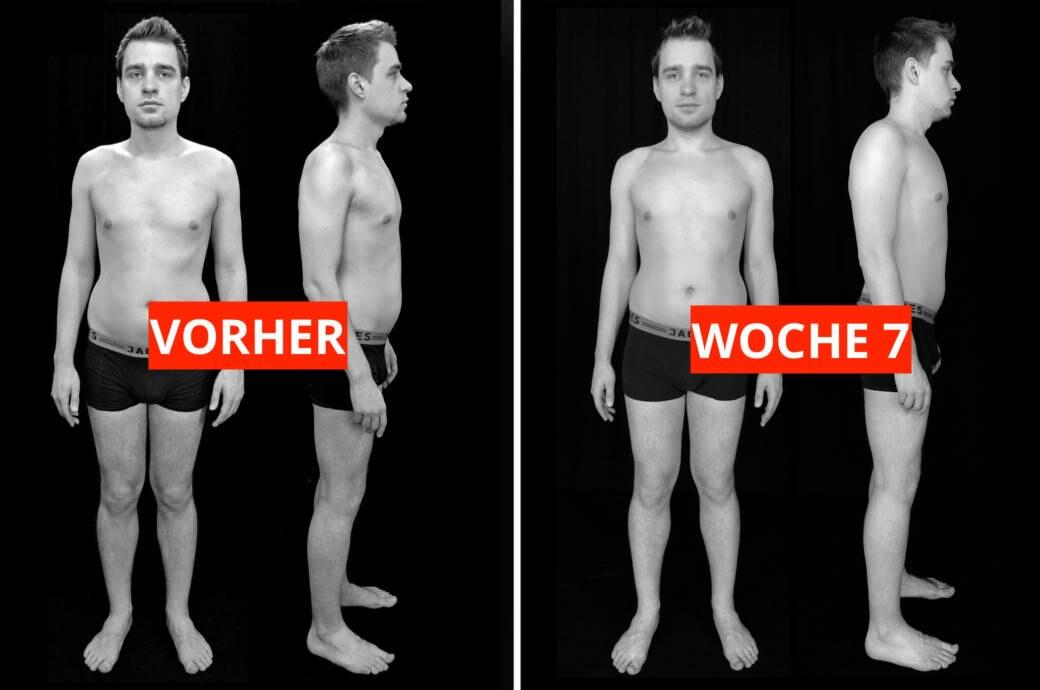 Transformations-Experiment: Fotos von Protagonist Chris VORHER (links) und nach Woche 7