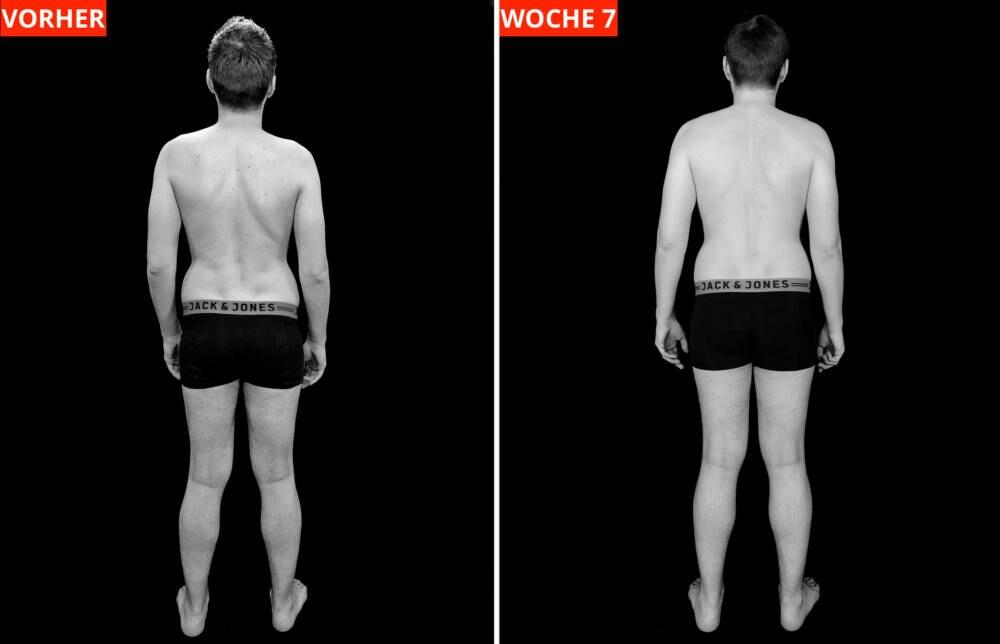 Nach 7 Wochen konnte Chris seinen Oberarmumfang um drei Zentimeter - sein größter Erfolg. Bei der Rückenmuskulatur sieht man dafür kaum Unterschiede.