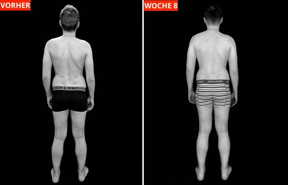 Transformations-Experiment: Fotos von Protagonist Chris VORHER (links) und nach Woche 8