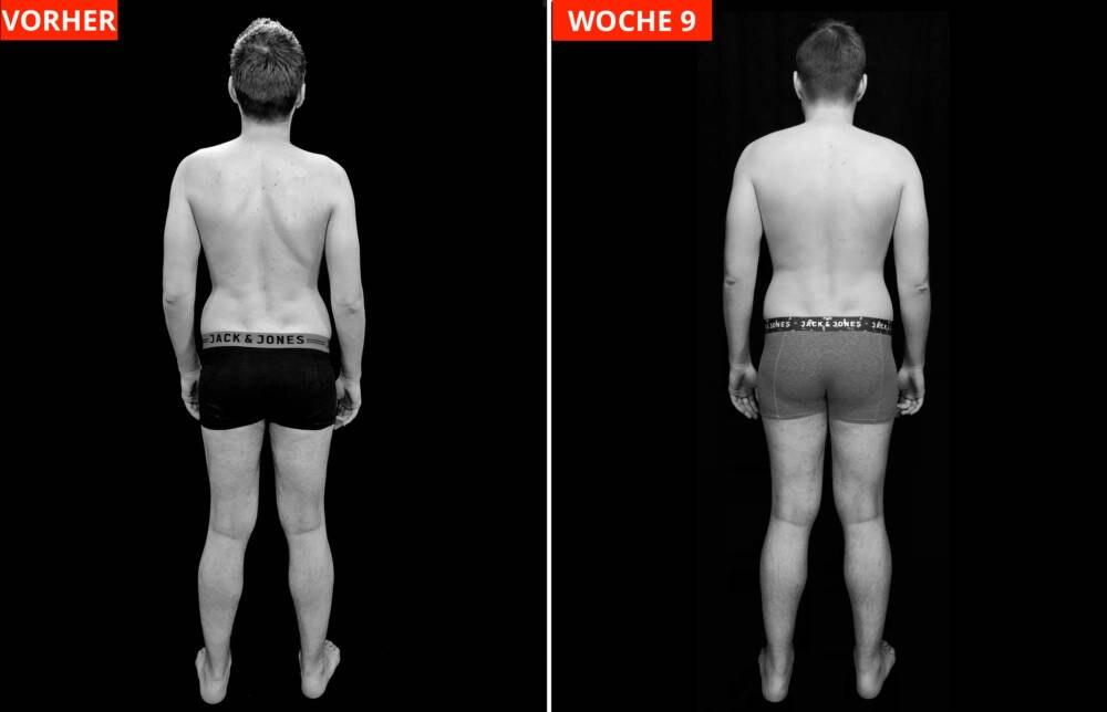Transformations-Experiment: Fotos von Protagonist Chris VORHER (links) und nach Woche 9
