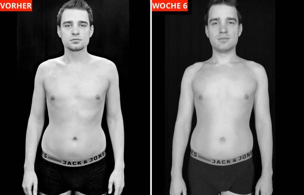 Transformations-Experiment: Fotos von Protagonist Chris (31): Vor Programmbeginn (links) und nach Woche 6