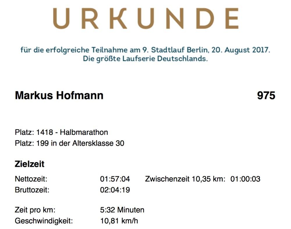 Urkunde vom Halbmarathon