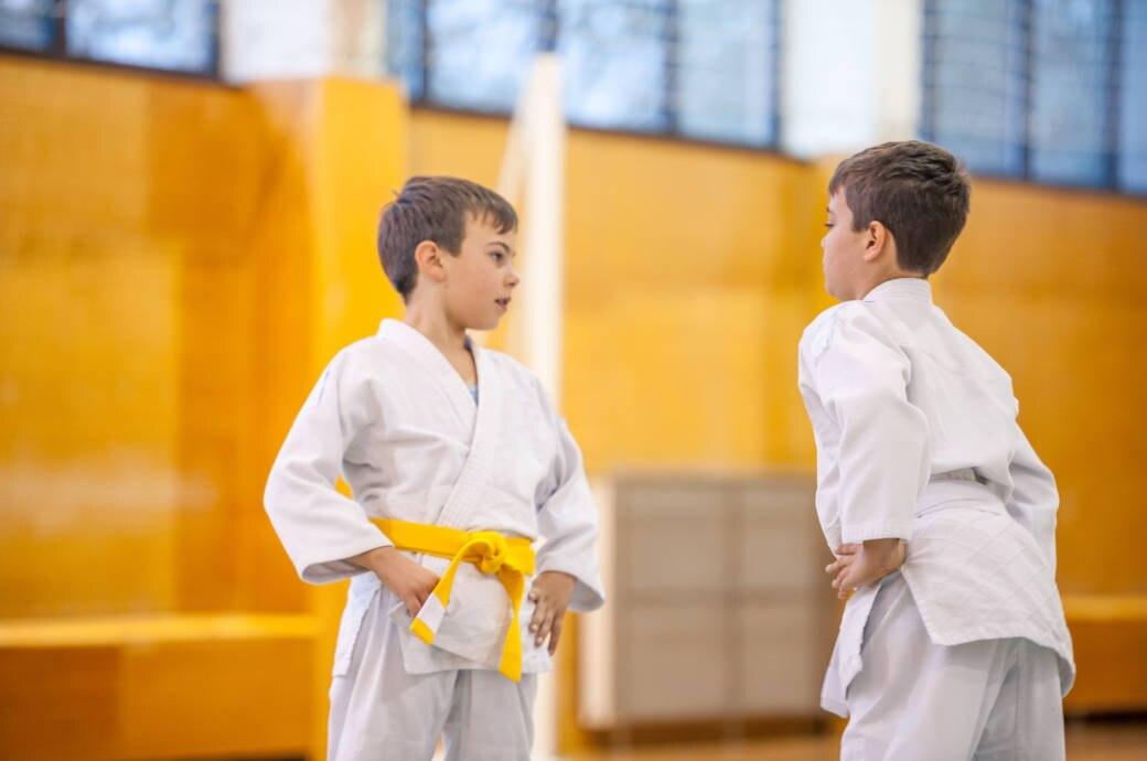 Zwei Jungs beim Judotraining