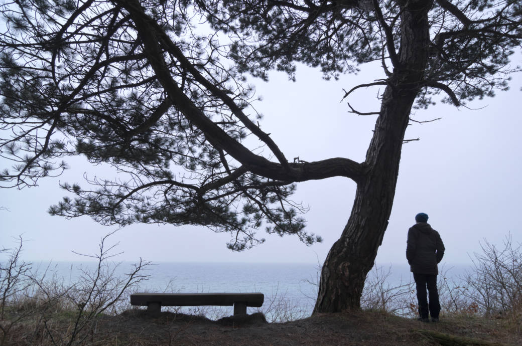 Ein Mann steht an der Ostseeküste