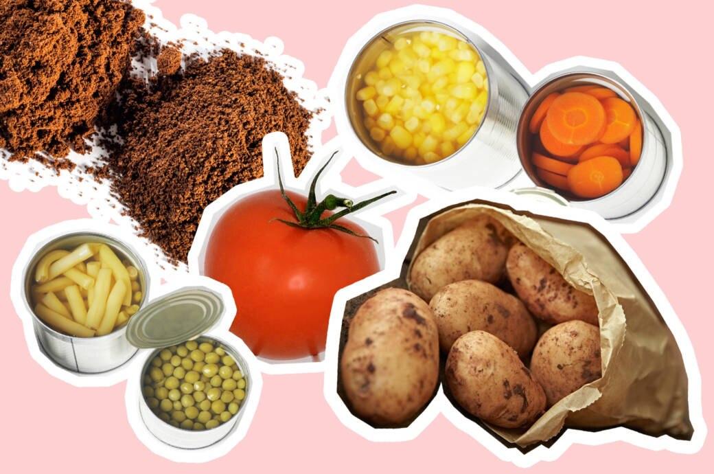Lebensmittel, die nicht in den Kühlschrank gehören: Kaffee, Tomate, Kartoffeln, Konservendosen