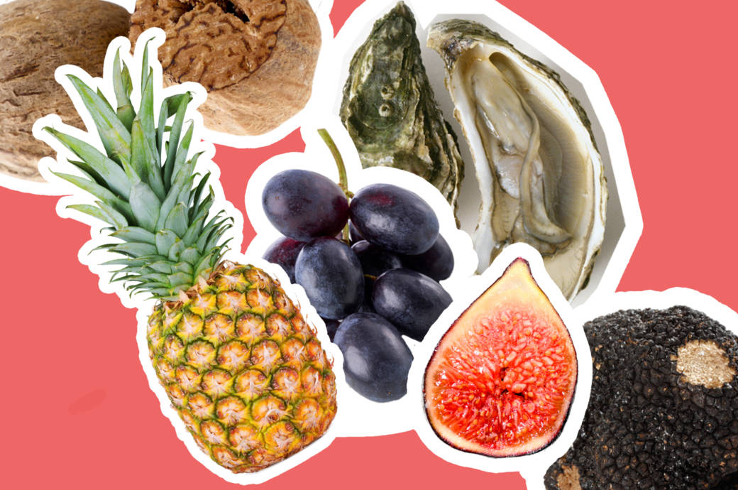 Collage aphrodisierende Lebensmittel