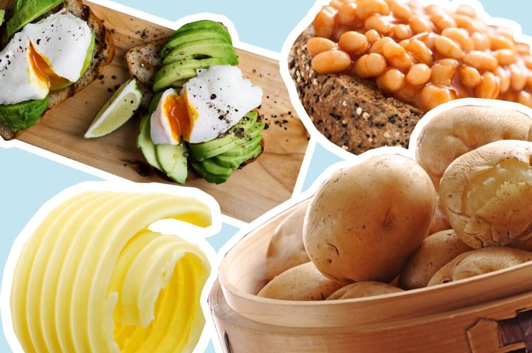 Eier, Baked Beans, Butter, Kartoffeln…