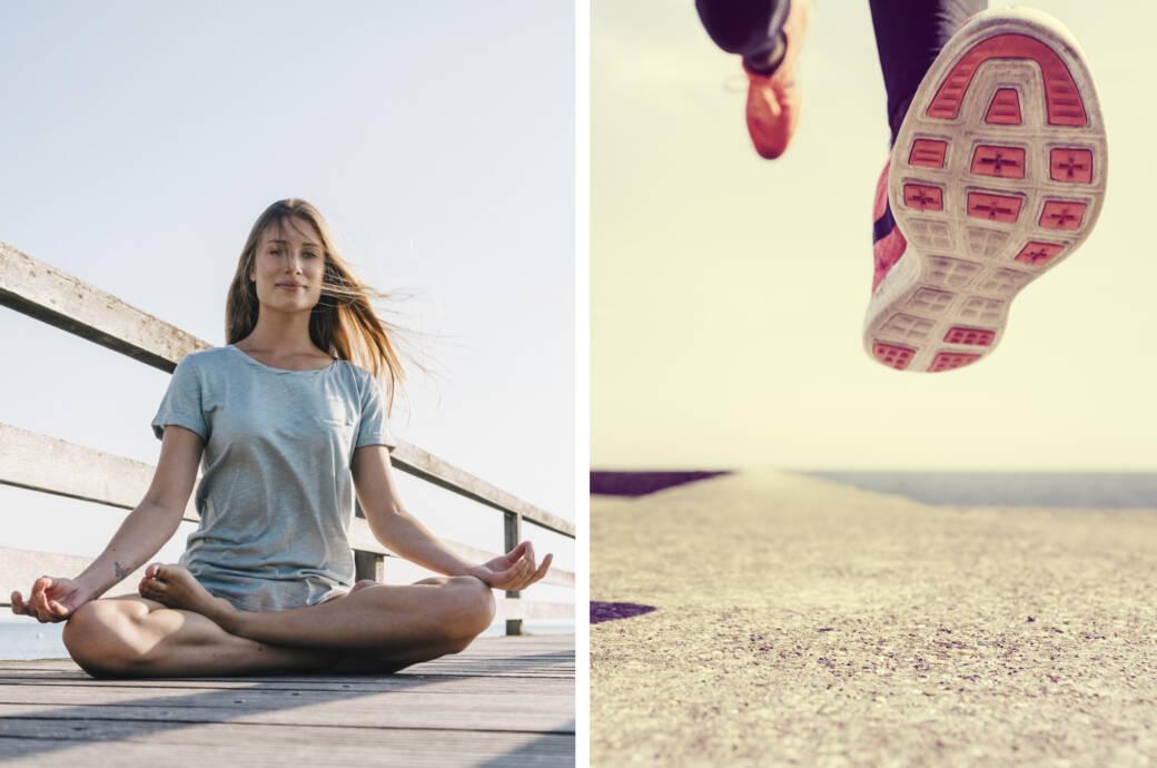 Frau beim Yoga – Sprinterin (Collage)