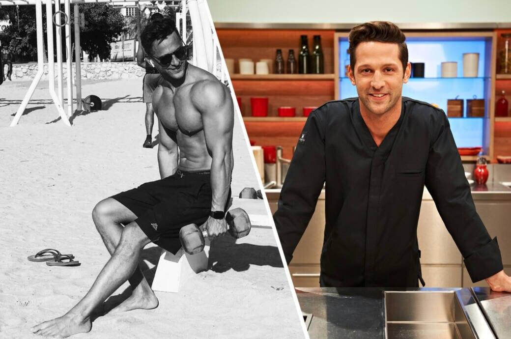 Starkoch Alexander Kumptner (36) wie man ihn aus dem TV kennt (rechts) – auf Instagram zeigt er seine durchtrainierte Seite.