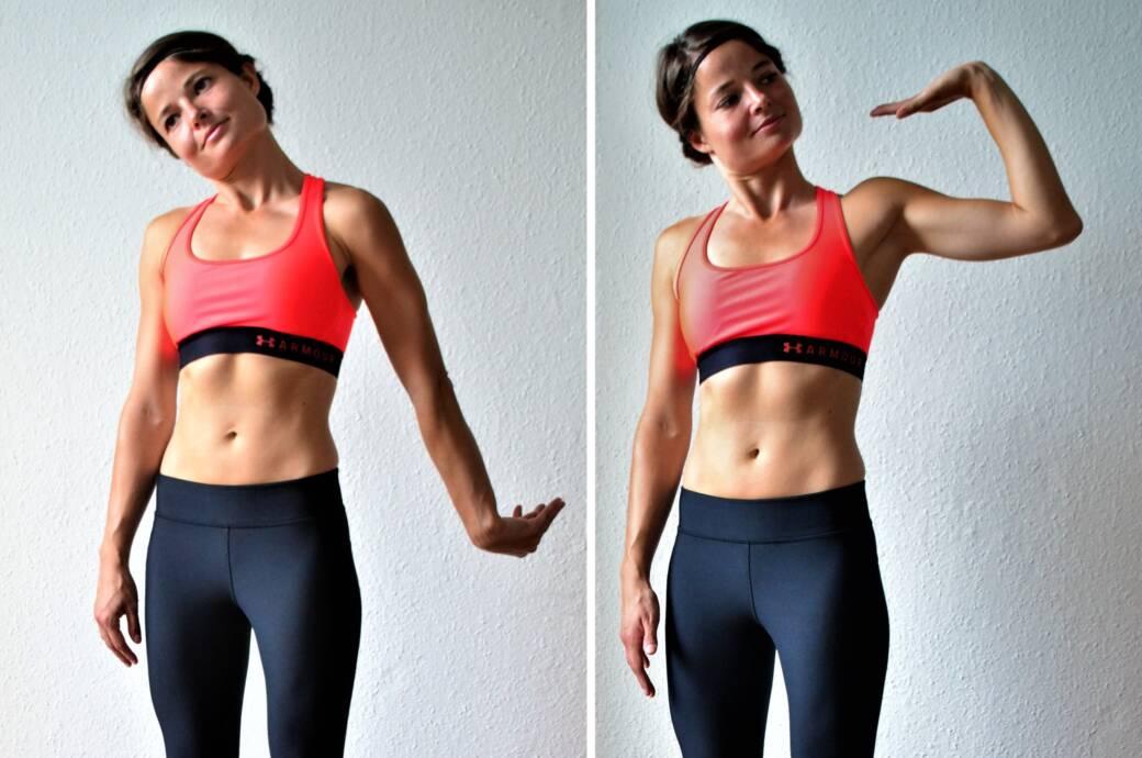 Mobilisieren, Anspannen: Luise Walther zeigt Übungen, die die Schmerzen einer schmerzhaften Sehnenscheidenentzündung lindern können – wie hier die Anspannung von Speichen- und Ellennerv